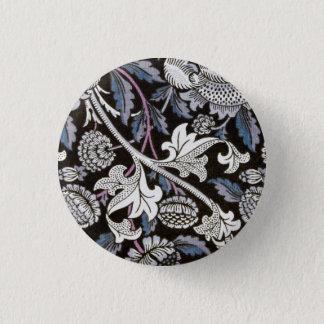 William Morris fabric black and white design 1 Inch Round Button