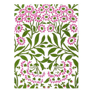 William Morris Fine Pink Floral Wallpaper Postcard