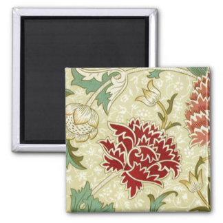 William Morris Fine Red Floral Wallpaper Square Magnet