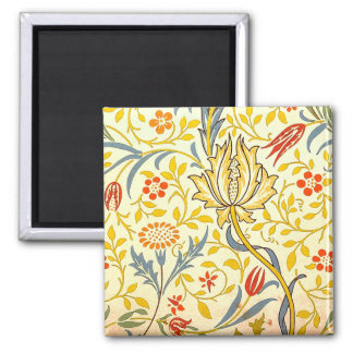 William Morris Flora Floral Wallpaper Pattern Square Magnet