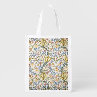 William Morris Flora Vintage Floral Art Nouveau Grocery Bags