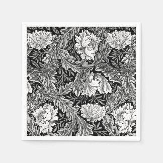 William Morris Floral, Black, White & Gray / Grey Disposable Napkins
