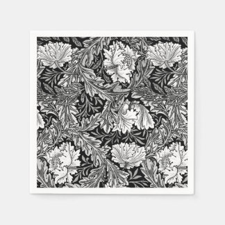 William Morris Floral, Black, White & Gray / Grey Paper Napkin