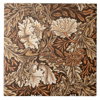 William Morris Floral, Chocolate Brown and Beige Tile