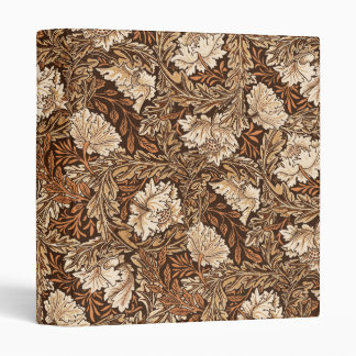 William Morris Floral, Chocolate Brown and Beige Vinyl Binder