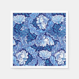 William Morris Floral, Cobalt Blue and White Paper Napkin