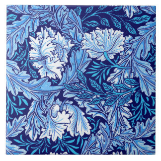 William Morris Floral, Cobalt Blue and White Tile