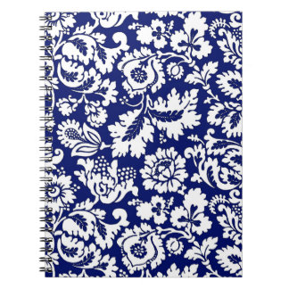 William Morris Floral Damask, Cobalt Blue & White Notebook