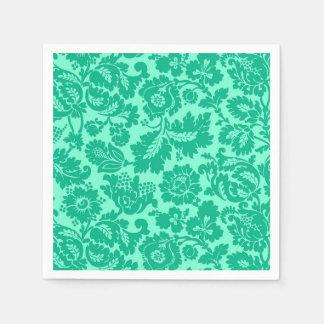 William Morris Floral Damask, Turquoise and Aqua Napkin