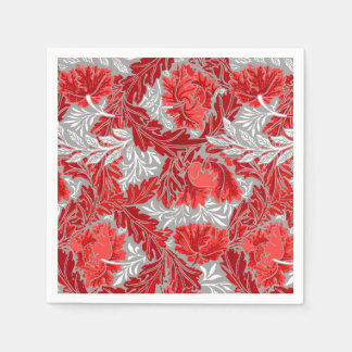 William Morris Floral, Deep Red and Gray / Grey Disposable Napkins