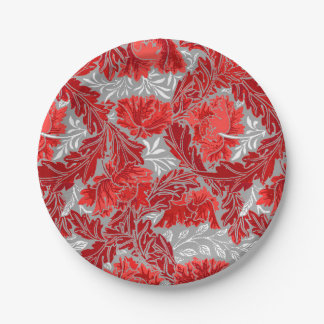 William Morris Floral, Deep Red and Gray / Grey Paper Plate