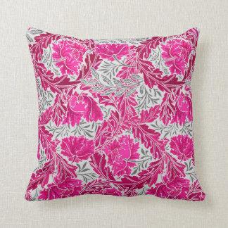 William Morris Floral, Fuchsia Pink & Gray / Grey Throw Pillow