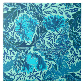 William Morris Floral, Indigo Blue and Turquoise Tiles
