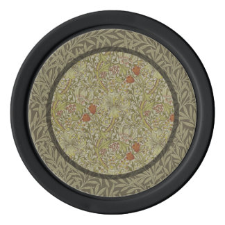 William Morris Floral lily willow art print design Poker Chips