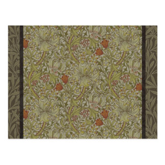 William Morris Floral lily willow art print design Postcard