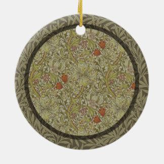 William Morris Floral lily willow art print design Round Ceramic Ornament