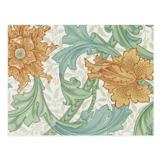 William Morris Floral Pattern Single Stem Postcard