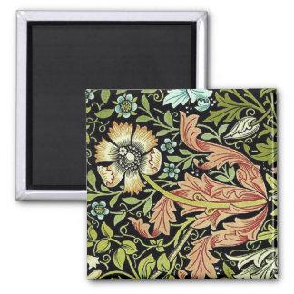 William Morris Flower design Square Magnet