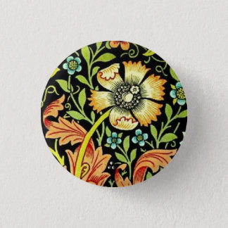 William Morris Flowers 1 Inch Round Button