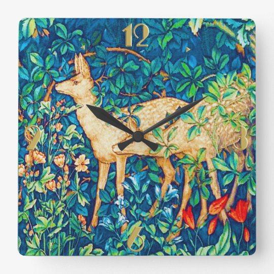 William Morris Forest Deer Tapestry Print Square Wall Clock