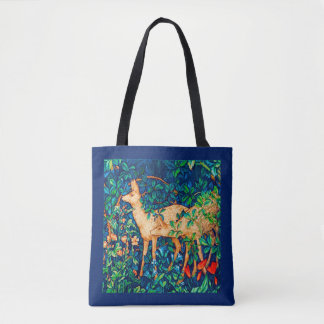 William Morris Forest Deer Tapestry Print Tote Bag