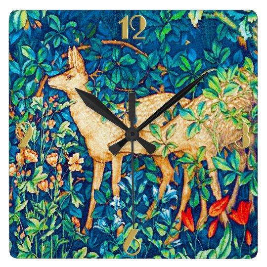 William Morris Forest Deer Tapestry Print Wallclock