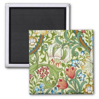 William Morris Garden Lily Wallpaper Square Magnet