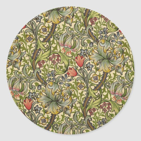 William Morris Golden Lily Classic Round Sticker