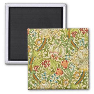 William Morris Golden Lily Vintage Pre-Raphaelite Square Magnet