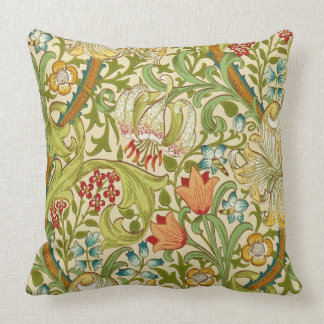 William Morris Golden Lily Vintage Pre-Raphaelite Throw Pillow