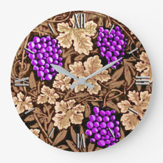 William Morris Grapevine, Brown and Purple Large Clock