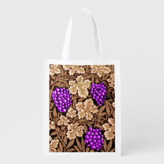 William Morris Grapevine, Brown and Purple Reusable Grocery Bag