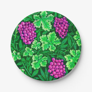 William Morris Grapevine, Magenta and Green 7 Inch Paper Plate
