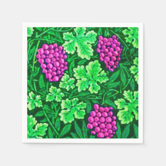 William Morris Grapevine, Magenta and Green Disposable Napkin