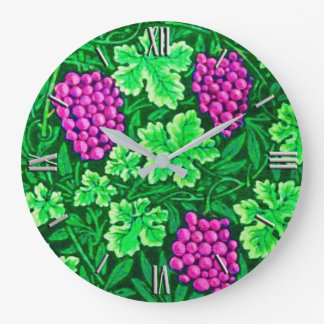 William Morris Grapevine, Magenta and Green Large Clock