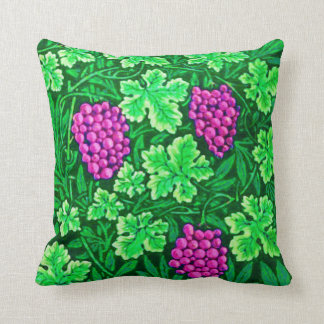 William Morris Grapevine, Magenta and Green Throw Pillow