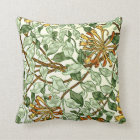 William Morris - Honeysuckle in Green and Gold Throw Pillow