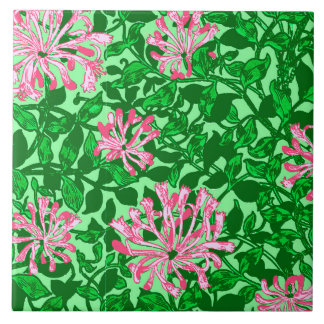 William Morris Honeysuckle, Pink and Green Tiles