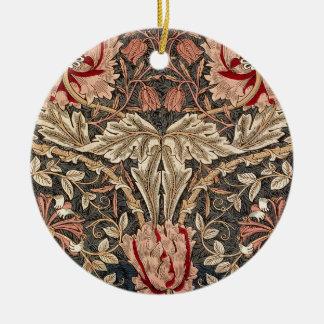 William Morris Honeysuckle Vintage Pattern Ceramic Ornament
