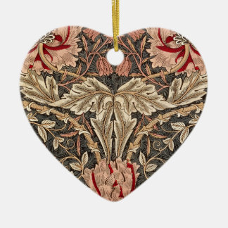 William Morris Honeysuckle Vintage Pattern Ceramic Ornament