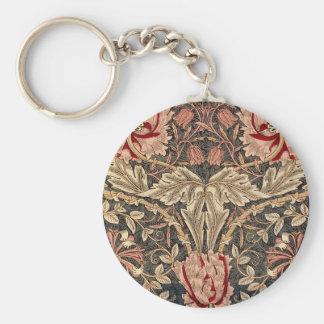 William Morris Honeysuckle Vintage Pattern Keychain