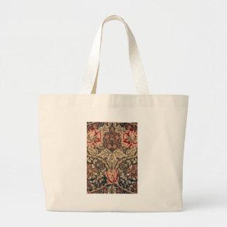 William Morris Honeysuckle Vintage Pattern Large Tote Bag