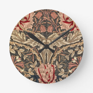 William Morris Honeysuckle Vintage Pattern Round Clock