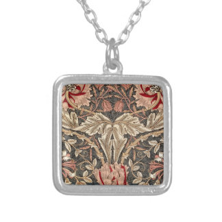 William Morris Honeysuckle Vintage Pattern Silver Plated Necklace