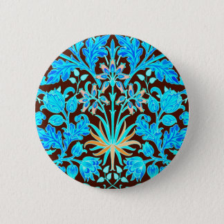 William Morris Hyacinth Print, Aqua and Brown 2 Inch Round Button