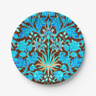 William Morris Hyacinth Print, Aqua and Brown 7 Inch Paper Plate