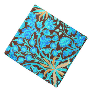 William Morris Hyacinth Print, Aqua and Brown Bandanas