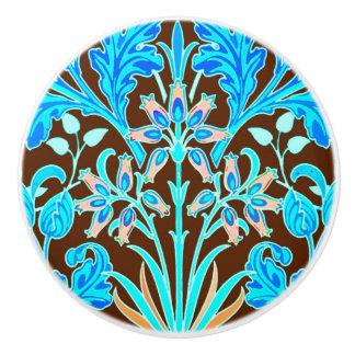 William Morris Hyacinth Print, Aqua and Brown Ceramic Knob