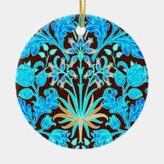 William Morris Hyacinth Print, Aqua and Brown Ceramic Ornament