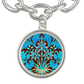 William Morris Hyacinth Print, Aqua and Brown Charm Bracelet
